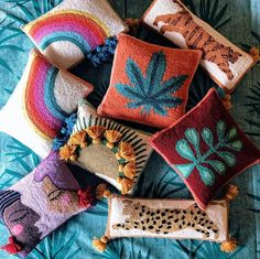 Have you heard? Our best selling Tiger + Mary Jane pillows are back in stock ✨🙌🏾🤩 link in bio to get yours before they're gone again! — our rainbow pillow will be back in June so stay tuned! Diy Pillows, Throw Pillows, Cushions, Mug Design, Punch Needle Patterns, Inspiration Design, Diy Home Crafts, Punch Art, Rug Hooking