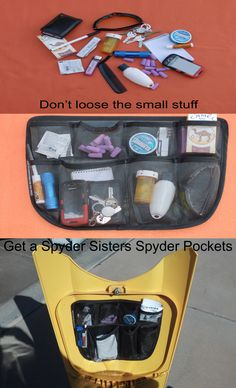 Can Am Spyder: Spyder Pockets, the slant of your trunk keeps the stuff in place. Don't loose the small stuff, keep it handy. Our pockets are clear so you can see whats in them. Easy to install, no tools required. Fits all years and makes of Spyders. Go to our website spydersisters.com to purchase