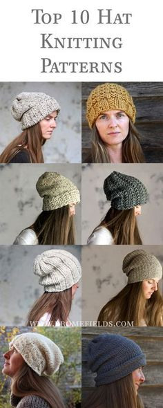 10 Quick & Easy Hat Knitting Patterns fpr any variety of knitted hat you might want. Knit Hat Pattern Easy, Hat Patterns To Sew, Easy Knitting Patterns, Loom Knitting, Free Knitting, Quick Knitting Projects, Free Pattern, Easy Knit Hat, Easy Patterns