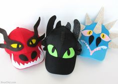 Jul 2017 - This easy dragon costume hat DIY makes How to Train Your Dragon characters from caps & felt.They will delight any Toothless, Hookfang or Stormyfly fan. Toothless Costume, Dragon Costume, Halloween Costumes Kids Homemade, Kid Halloween, Change Jar, Dragon Party, Crazy Hats, Diy Hat, Homemade Face Masks
