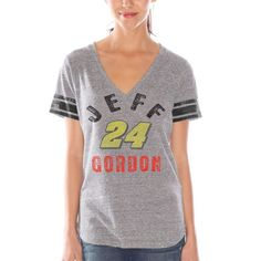 Jeff Gordon Women's Team Captain Tri-Blend V-Neck T-Shirt – Gray