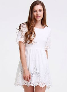 Shop White Half Sleeve Crochet Detail Trims Dress online. Sheinside offers White Half Sleeve Crochet Detail Trims Dress & more to fit your fashionable needs. Free Shipping Worldwide!