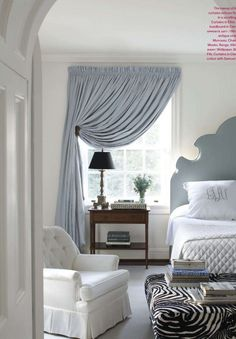 Gorgeous pale blue/gray room! | zebra ottoman | headboard | monogrammed pillows possible guest room