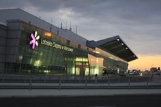 Warsaw Chopin Airport by night