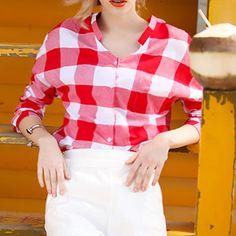 MIOIM M-5XL Fashion Casual Red Plaid Shirt Women Loose Blouse Cotton Shirt Leisure blusas Women clothes vetement femme W1