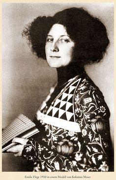 Emilie Flöge, wearing a model of Koloman Moser, Wiener Werkstätte,1910