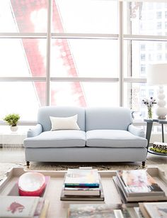 soft blue couch