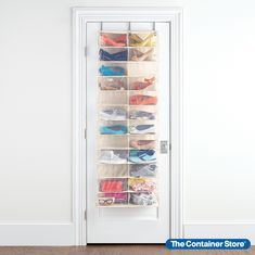 Step up your shoe organization with our 24-Pocket Over the Door Shoe Organizer. Simply hang it over virtually any door and enjoy instant storage space and easy access to your shoes or small handbags. Plus, by moving your shoes off the floor or shelf and onto the previously unused space on a door, you free up more room in your entryway or mudroom. Holds up to 24 pairs of shoes or small handbags. Over The Door Organizer, Door Shoe Organizer, Closet Organization, Organization Ideas, Organizing Life, Industrial Shoe Rack, Best Shoe Rack, Ikea Shoe, Wooden Shoe Racks