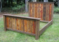 59 Ideas For Barn Wood Bed Frame Pallet Headboards Pallet Furniture, Furniture Projects, Rustic Furniture, Wood Projects, Rustic Nightstand, Bedroom Furniture, Reclaimed Wood Beds, Barnwood Beds, Pallet Bed Frames