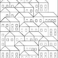 Hillside Houses Coloring Sheet