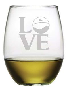 Golf Love Stemless Wine Glasses ~ Set of 4 Beautifully etched, this set of four stemless wine glasses is a great gift for the golfer in your life. Add a bottle of their favorite wine and you've got th