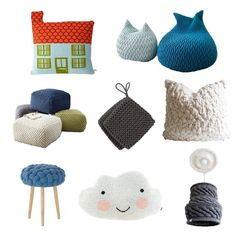 Clockwise from top left:  House Cushion, Aldea Home ($110) Slumber Pouf designed by Aleksandra Gaca, Northern Icon (Large: $1060) Alpaca Chu...