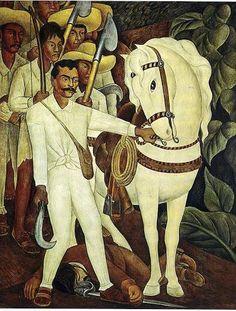 Emiliano Zapata (1879-1919), Détail d'un mural de Diego Rivera - Histoire du Mexique du XVe siècle à nos jours
