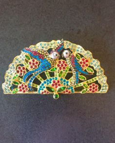 """Paula on Instagram: """"I love the parrots on this fan brooch I just finished a few weeks ago. The palette is so festive and happy. Enjoy!"""" Palette, It Is Finished, Jewelry Making, Product Launch, Museum, Brooch, Shoulder Bag, Fine Art, Parrots"""