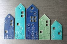 Hanging Row House tiles by pottery and tile Clay Tiles, Ceramic Clay, Ceramic Pottery, Ceramics Projects, Clay Projects, Clay Crafts, Clay Houses, Ceramic Houses, Pottery Houses