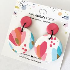 Handmade polymer pink and blue round dangles earrings. made accessories projects One White Cloud / Handmade polymer clay earrings Polymer Clay Creations, Polymer Clay Crafts, Handmade Polymer Clay, Polymer Clay Jewelry, Diy Clay Earrings, Earrings Handmade, Drop Earrings, Earrings Crafts, Clay Design