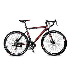 KINGTTU XC760 Road Bike Commuter Bike Cycling 52cm Aluminum Frame ShimanoTZ 50 14 Speeds 700C Mans Disc Brake Red Black #deals