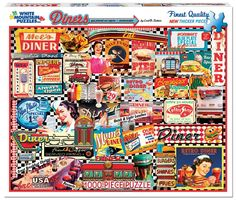 "1000 Pieces -- ""Diners"" -- Art by Lois B. Sutton; Puzzle by White Mountain Puzzles, Inc. (No. 999S); Copyright 2013; Completed Size: 24"" x 30""; Purchased at Deseret Industries for $2.00 on 24 Nov 2014 and Completed on 9 Dec 2014; COMPLETE!!"