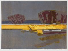 Frank Dekkers, Oude Waal 2007, houtsnede (woodcut) 65 x 88 cm