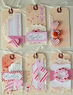 Layered tags w/doilies, punches & twine