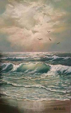 Landscape aquarell sea ideas for 2019 Watercolor Landscape, Landscape Art, Landscape Paintings, Seascape Paintings, Watercolor Paintings, Ocean Pictures, Nautical Art, Sea Art, Ocean Waves