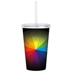 Acrylic Insulated Water Bottle Cup Artist Rainbow Color Wheel * To view further for this item, visit the image link.