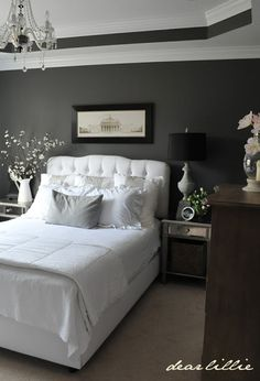 OUR BEDROOM INSPIRATION -  Walls- Benjamin Moore = Kendall Charcoal! I <3 the charcoal color on the walls with the white linens! SO FRESH!