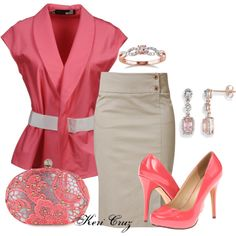 Coral Beauty, created by keri-cruz on Polyvore