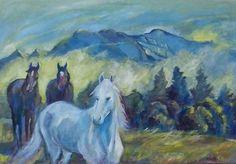 Birth, Shagyar summer. Oil on canvas. 70x 100 cm. R. Allison.
