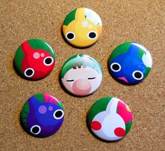 Pikmin Button Set by deadcosmicworkshop on Etsy, $5.50