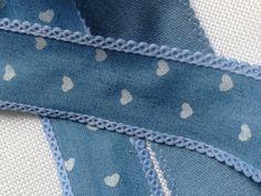 Spitzenborte - Webband HERZ blau/weiß (25mm) ab 1Meter - ein Designerstück von Pearls-and-more bei DaWanda