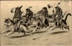 Monkey soldiers riding cats ~ Maurice Boulanger