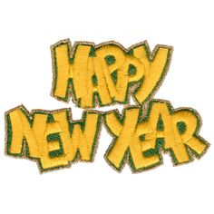 "This free embroidery design is called ""Happy New Year""."