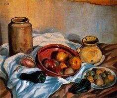 Naturaleza muerta - Salvador Dalí 1918. Óleo y guijarros sobre lienzo. 50 x 30 cm. Propiedad particular.