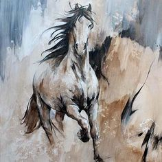 Acrylique sur toile, cheval en mouvement, pur race frison