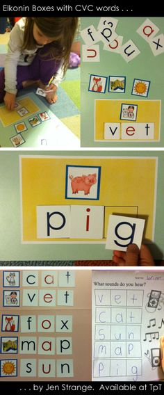 Elkonin boxes are a common tool used to increase students' phonemic awareness. This set focuses on CVC words and breaking them down into initial consonants, medial vowels (short vowels), and final consonants.  The 48 picture words that come in the Elkonin set are mostly CVC - 13 have digraphs like sh and ck.  Additionally, there are at least 7 images for each short vowel, perfect for sorting with the vowel line.  Complete movable alphabet is also included.