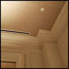 Wallpaper ceiling with grasscloth to add color & texture