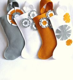 a set of 4 Christmas stockings in gray / grey  gold and  door rikrak, $72.00