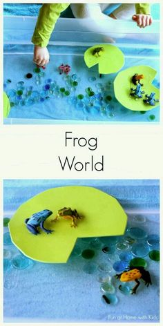 """Simple Small Worlds: Frog World from Fun at Home with Kids. Lots more great """"small world"""" play ideas here! Sensory Activities, Sensory Play, Preschool Activities, Summer Activities, Family Activities, Sensory Diet, Indoor Activities, Sensory Boxes, Sensory Table"""