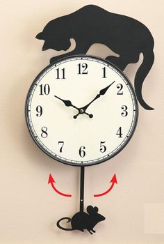 """Playful Cat Silhouette Wall Clock w/ Swinging Mouse on Pendulum 10"""" Dia x 19""""L #CEAS #Novelty"""