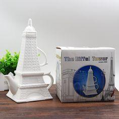 New Arrivals Creative Eiffel Tower Coffee Tea Set Ceramic Tea Kettle include 1 pot and 1 cup #Affiliate