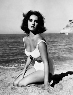 "Elizabeth Taylor in the iconic white swimsuit worn in ""Suddenly, Last Summer"" (1959)"