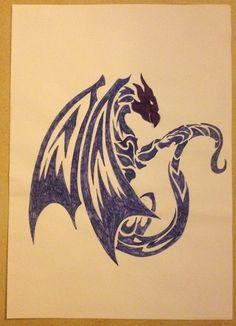 Tribal drawing ~ dragon -Coline210