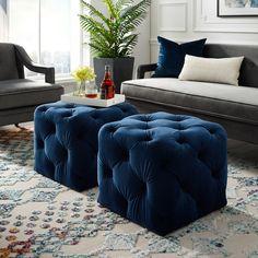 Navy Blue Velvet Ottoman - Leonard - Square Shaped - Modern in Blue - Posh Living Blue Ottoman, Ottoman Decor, Modern Ottoman, Square Ottoman, Upholstered Ottoman, Ottoman Design, Living Room Ottoman Ideas, Diy Ottoman, Ottoman Tray