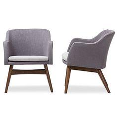 Baxton Studio Mid-Century Two-Tone Grey Fabric 2-Piece Lounge Chair Set