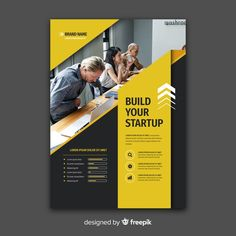 Business flyer template with photo Free . Web Design, Design Typo, Graphic Design Brochure, Leaflet Layout, Brochure Design Layouts, Book Design Layout, Booklet Design, Modele Flyer, Design Creation