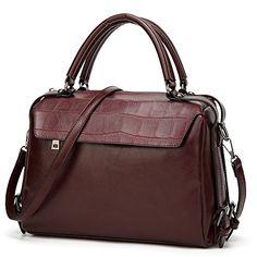 DALFR Women Top Handle Satchel Handbags PU Crossbody Bag Over Size Shoulder Messenger Bag Tote Bag Purse (Dark Red) >>> Learn more by visiting the image link.