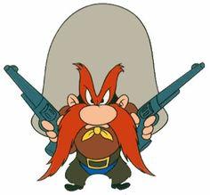 Yosemite Sam is linked to Quick Draw Karl because like Sam, Karl is a short tempered gun loving cowboy.