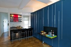 Here's a 450 square foot Manhattan apartment that has been uniquely redesigned by architect Michael Chen and assistant Kari Anderson.