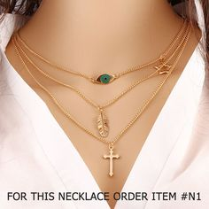 Gold Plated 3 Layer Chain Necklaces (6 varieties)